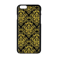 Damask1 Black Marble & Yellow Colored Pencil (r) Apple Iphone 6/6s Black Enamel Case