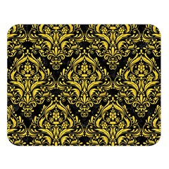 Damask1 Black Marble & Yellow Colored Pencil (r) Double Sided Flano Blanket (large)