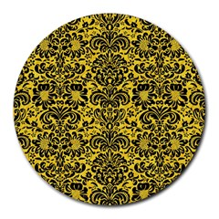 Damask2 Black Marble & Yellow Colored Pencil Round Mousepads