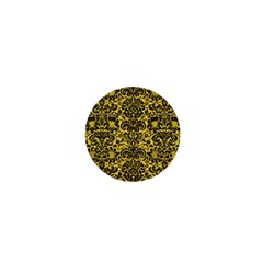 Damask2 Black Marble & Yellow Colored Pencil 1  Mini Buttons