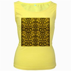 Damask2 Black Marble & Yellow Colored Pencil Women s Yellow Tank Top
