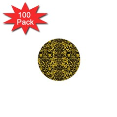 Damask2 Black Marble & Yellow Colored Pencil 1  Mini Buttons (100 Pack)