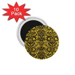 Damask2 Black Marble & Yellow Colored Pencil 1 75  Magnets (10 Pack)