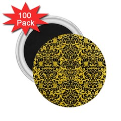 Damask2 Black Marble & Yellow Colored Pencil 2 25  Magnets (100 Pack)