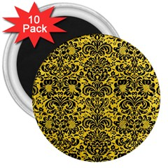 Damask2 Black Marble & Yellow Colored Pencil 3  Magnets (10 Pack)