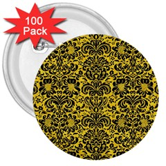 Damask2 Black Marble & Yellow Colored Pencil 3  Buttons (100 Pack)