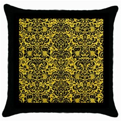 Damask2 Black Marble & Yellow Colored Pencil Throw Pillow Case (black)