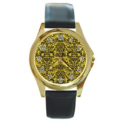 Damask2 Black Marble & Yellow Colored Pencil Round Gold Metal Watch