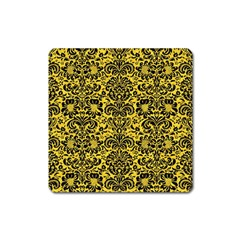 Damask2 Black Marble & Yellow Colored Pencil Square Magnet