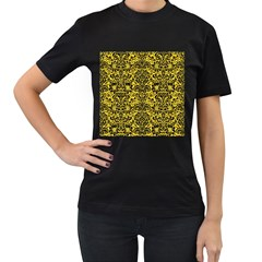 Damask2 Black Marble & Yellow Colored Pencil Women s T Shirt (black) (two Sided)