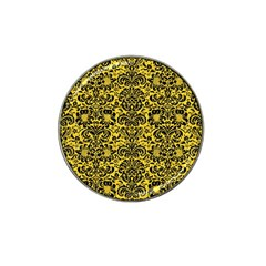 Damask2 Black Marble & Yellow Colored Pencil Hat Clip Ball Marker