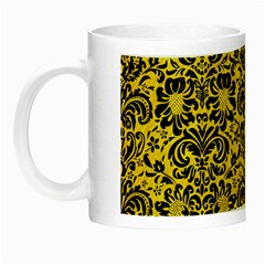 Damask2 Black Marble & Yellow Colored Pencil Night Luminous Mugs