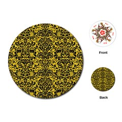 Damask2 Black Marble & Yellow Colored Pencil Playing Cards (round)