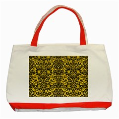 Damask2 Black Marble & Yellow Colored Pencil Classic Tote Bag (red)
