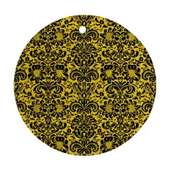 Damask2 Black Marble & Yellow Colored Pencil Round Ornament (two Sides)