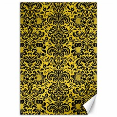 Damask2 Black Marble & Yellow Colored Pencil Canvas 12  X 18