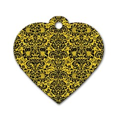 Damask2 Black Marble & Yellow Colored Pencil Dog Tag Heart (one Side)