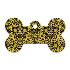 Damask2 Black Marble & Yellow Colored Pencil Dog Tag Bone (two Sides)