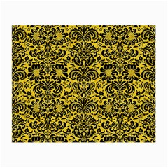 Damask2 Black Marble & Yellow Colored Pencil Small Glasses Cloth (2 Side)