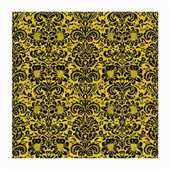 Damask2 Black Marble & Yellow Colored Pencil Medium Glasses Cloth (2 Side)