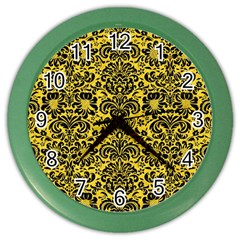 Damask2 Black Marble & Yellow Colored Pencil Color Wall Clocks