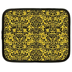 Damask2 Black Marble & Yellow Colored Pencil Netbook Case (large)