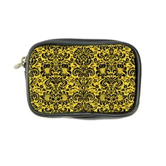 Damask2 Black Marble & Yellow Colored Pencil Coin Purse