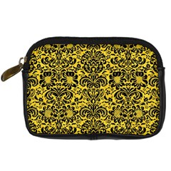 Damask2 Black Marble & Yellow Colored Pencil Digital Camera Cases
