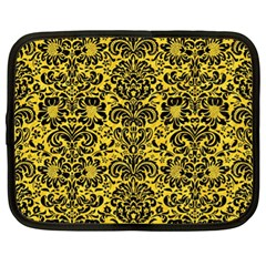 Damask2 Black Marble & Yellow Colored Pencil Netbook Case (xl)