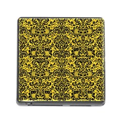 Damask2 Black Marble & Yellow Colored Pencil Memory Card Reader (square)
