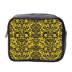 Damask2 Black Marble & Yellow Colored Pencil Mini Toiletries Bag 2 Side