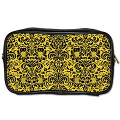 Damask2 Black Marble & Yellow Colored Pencil Toiletries Bags 2 Side