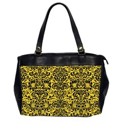 Damask2 Black Marble & Yellow Colored Pencil Office Handbags (2 Sides)
