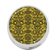 Damask2 Black Marble & Yellow Colored Pencil 4 Port Usb Hub (one Side)