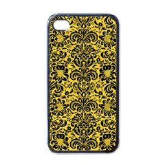 Damask2 Black Marble & Yellow Colored Pencil Apple Iphone 4 Case (black)