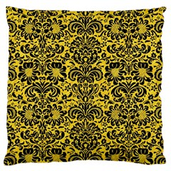 Damask2 Black Marble & Yellow Colored Pencil Large Cushion Case (one Side)