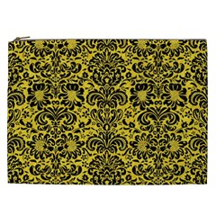 Damask2 Black Marble & Yellow Colored Pencil Cosmetic Bag (xxl)