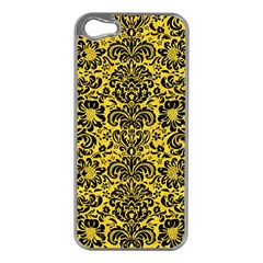 Damask2 Black Marble & Yellow Colored Pencil Apple Iphone 5 Case (silver)