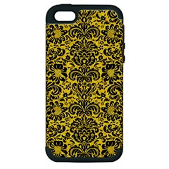 Damask2 Black Marble & Yellow Colored Pencil Apple Iphone 5 Hardshell Case (pc+silicone)