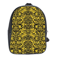 Damask2 Black Marble & Yellow Colored Pencil School Bag (xl)