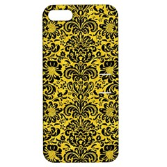 Damask2 Black Marble & Yellow Colored Pencil Apple Iphone 5 Hardshell Case With Stand