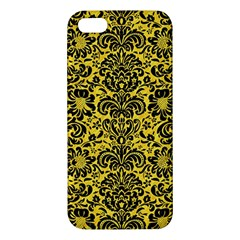 Damask2 Black Marble & Yellow Colored Pencil Apple Iphone 5 Premium Hardshell Case