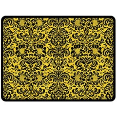Damask2 Black Marble & Yellow Colored Pencil Double Sided Fleece Blanket (large)