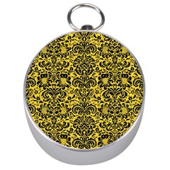 Damask2 Black Marble & Yellow Colored Pencil Silver Compasses