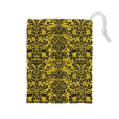Damask2 Black Marble & Yellow Colored Pencil Drawstring Pouches (large)