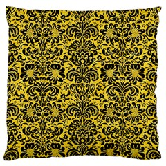Damask2 Black Marble & Yellow Colored Pencil Large Flano Cushion Case (two Sides)