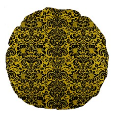 Damask2 Black Marble & Yellow Colored Pencil Large 18  Premium Flano Round Cushions