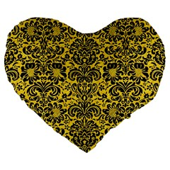Damask2 Black Marble & Yellow Colored Pencil Large 19  Premium Flano Heart Shape Cushions