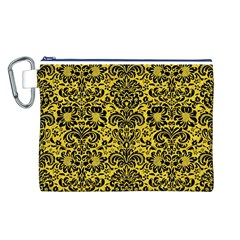 Damask2 Black Marble & Yellow Colored Pencil Canvas Cosmetic Bag (l)