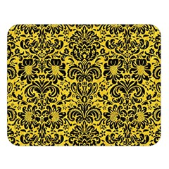 Damask2 Black Marble & Yellow Colored Pencil Double Sided Flano Blanket (large)